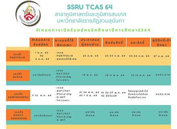ปฏิทินการรับสมัครนักศึกษา ปี 2564
